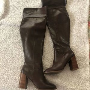 Shoes - Thigh high boots with chunky heel